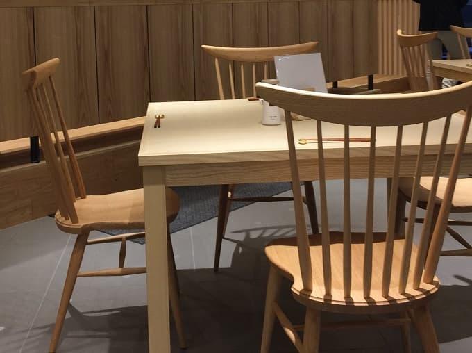 なんばスカイオの象印食堂のテーブル席