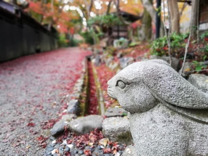 嵐山公園の廃屋のウサギ像