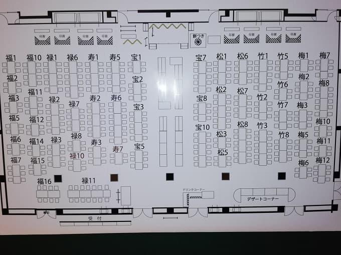 リーガロイヤルホテル京都の新春ファミリービュッフェの席案内図
