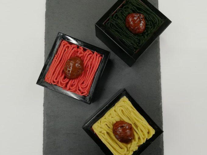 信州伊那栗の3色モンブランのプレーン、木苺、抹茶